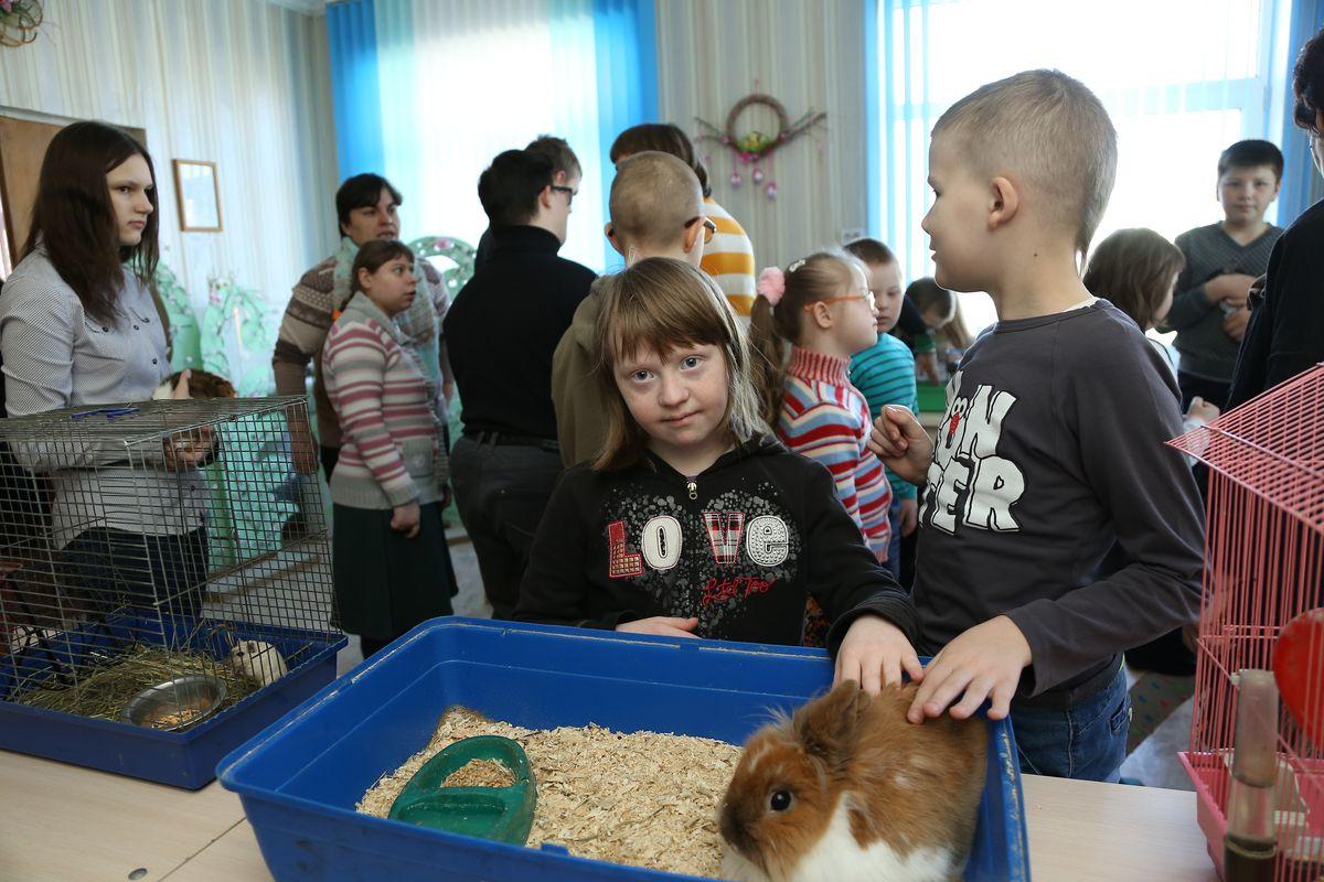 Воспитанница центра Лера гладит кролика.