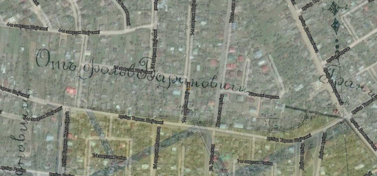 План Розвадова 1892 года с современными улицами.