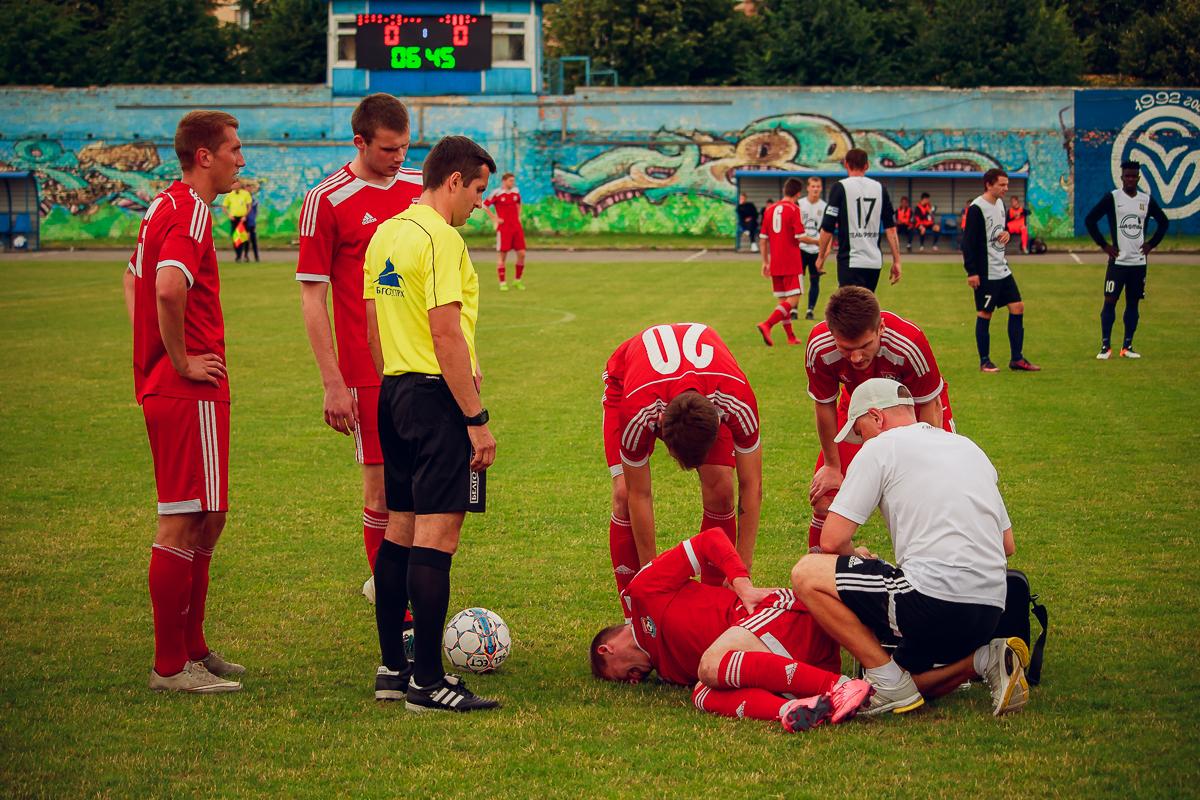 Травмированный Вячеслав Каборда не смог продолжить игру.