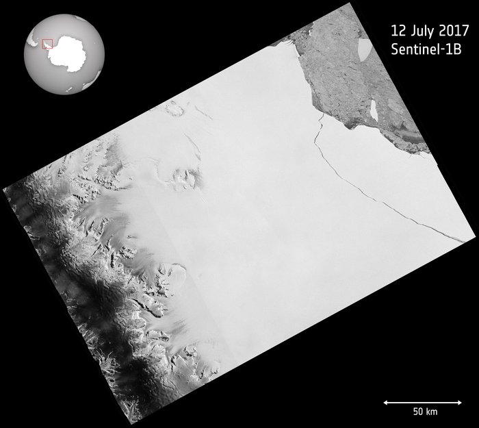 Айсберг А23А, вид из космоса. Фото: esa.int