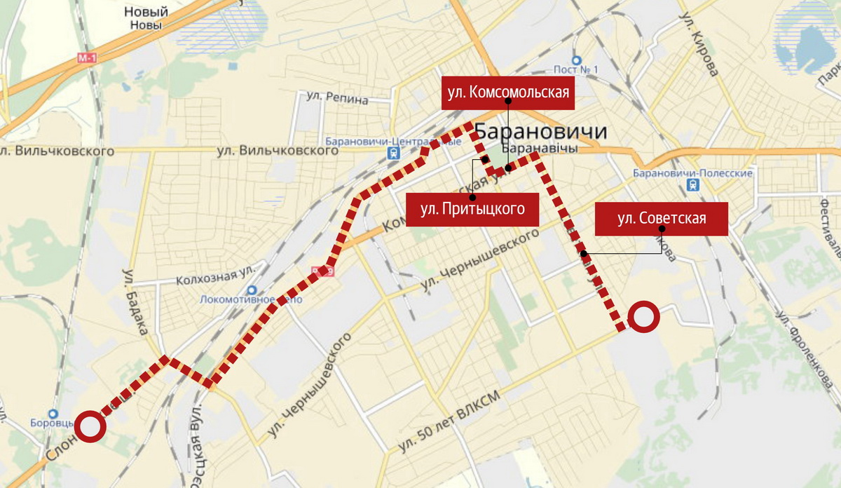 Схема движения автобуса №13.
