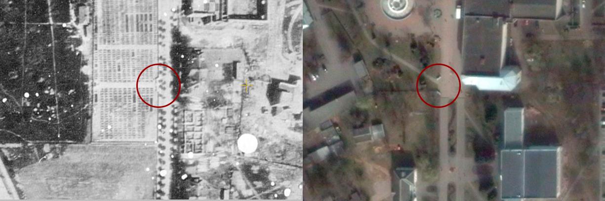 Вход на кладбище, АФ + Google Спутник