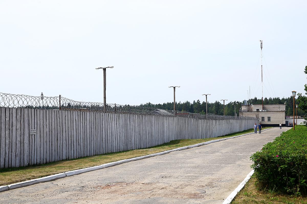 Периметр колонии огражден забором с колючей проволокой.