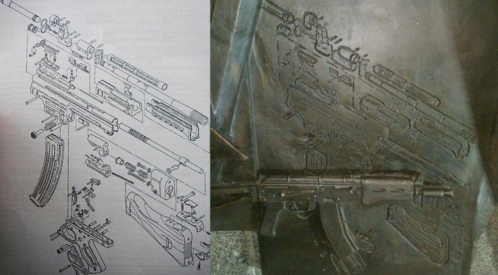 Схема автомата MKb.42 и фрагмент барельефа на памятнике Михаилу Калашникову в центре Москвы.