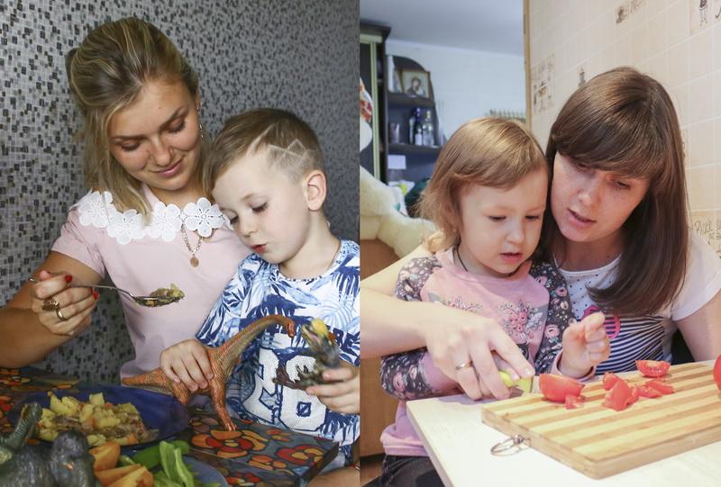Вероника Чечет и сын Захар (слева), Анастасия Трушко с дочкой Полиной.