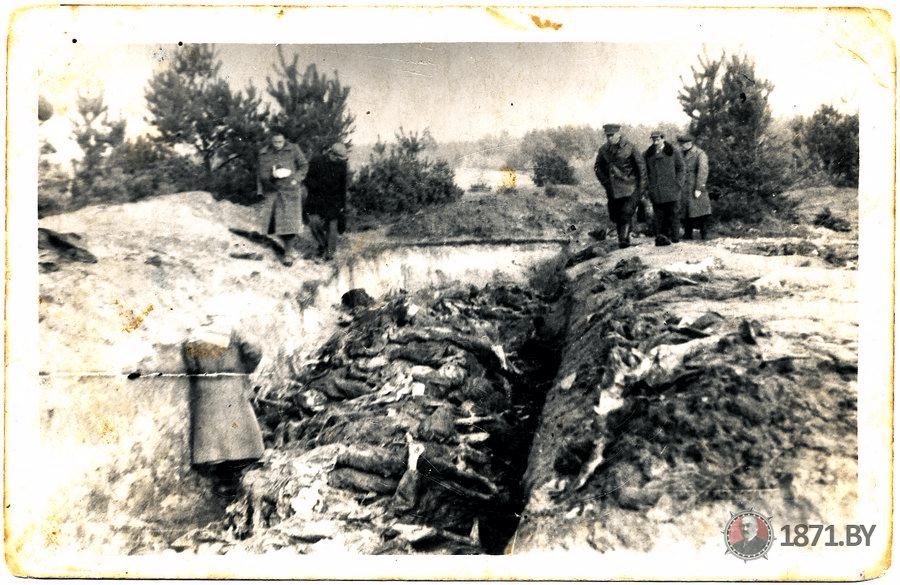Приблизительно 1943 год. Канавы с телами погибших. Фото: 1871.by