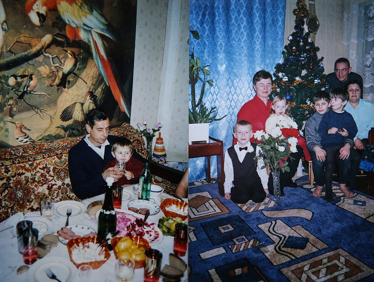 1995 год. Илья у дедушки на руках за праздничным столом.         2005 год. Новый год в кругу семьи. Илья с братом на руках.