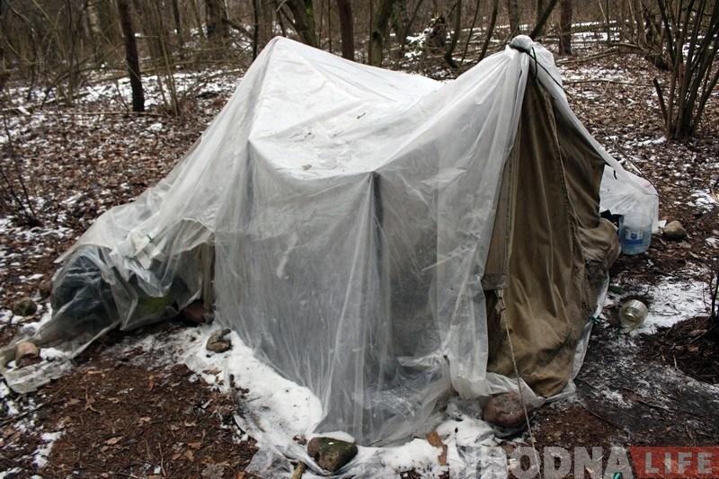 Палатка, у якой Марыя жыве са сваім хлопцам. Яе падарыў сябар.