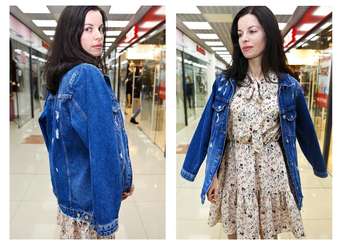 Платье - 55 руб., джинсовая куртка - 68 руб.