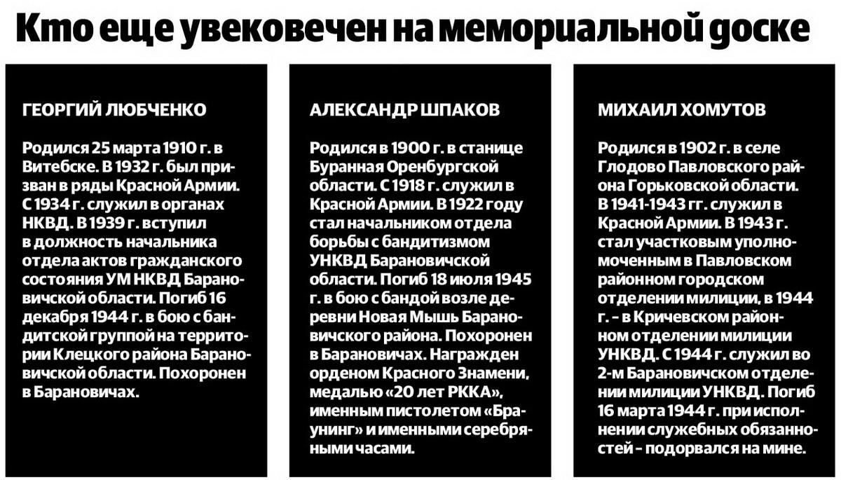 Истории барановичских милиционеров, погибших при исполнении служебных обязанностей — Intex-press. Последние новости города Барановичи, Беларуси и Мира
