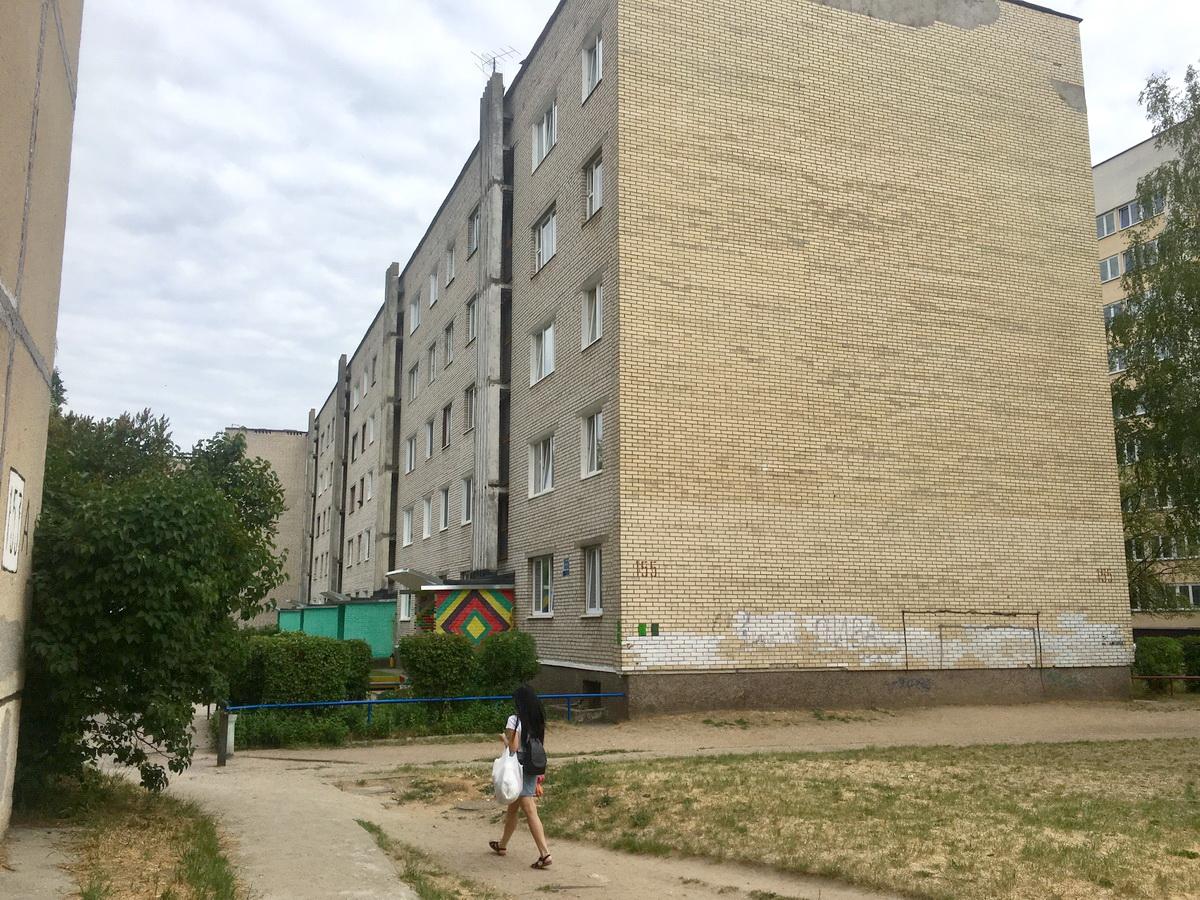 Футбольные ворота, нарисованные на стене дома №155 на улице Тельмана, стали причиной конфликта между жителями этого дома и ближайшей новостройки. Фото: Евгений ТИХАНОВИЧ