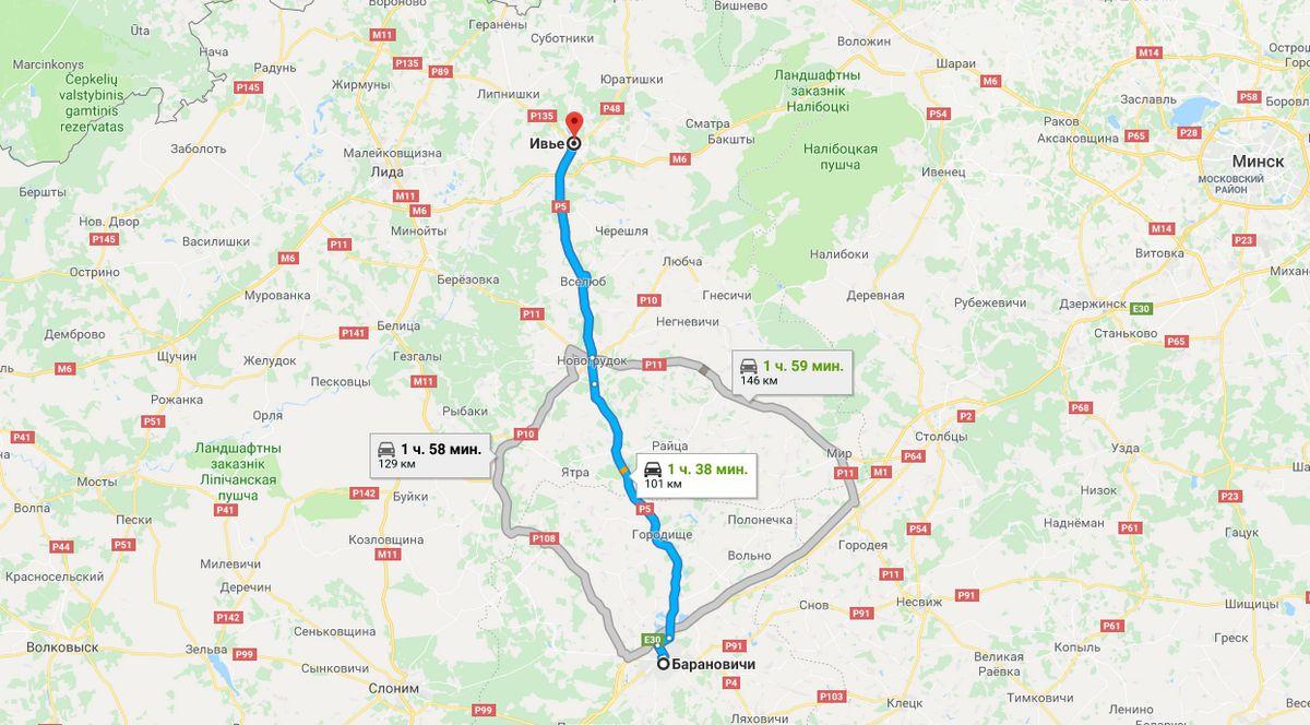 Схема проезда из Барановичей в Ивье