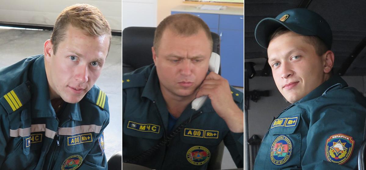 авел Саленик, спасатель, Денис Пивоварчик, диспетчер, Игорь Волчецкий, водитель. Фото: Наталья СОЛОМЯНКО